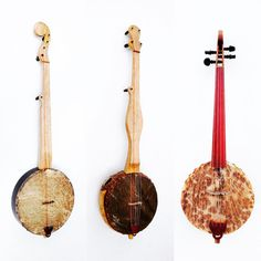 """""""Three instruments that I currently have for sale: 12"""" open back tackhead, gourd banjo, gourd fiddle."""""""