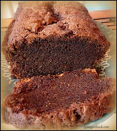 chocolate zucchini bread {only had 1 1/2 cups zucchini, used 1 4 ounce bar giradelli semi-sweet chocolate, used vegetable oil instead of canola oil, jumbo sized eggs, cooked until thermometer said 190*}