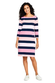 1a25b765f7d4e Try our Women s Sleeve Stripe Heritage Jersey Shift Dress at Lands  End.