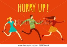 Running hurry young people cartoon illustration. Poster about sale. Perfect to place your text - stock vector
