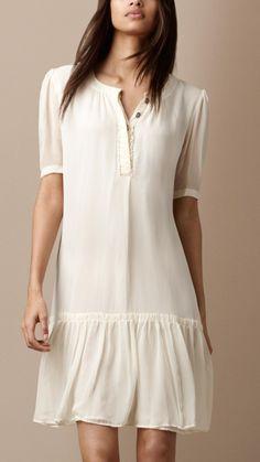 Burberry Brit silk ruffle front dress
