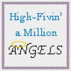 High Fivin' a Million Angels cross stitch pattern, inspired by 30 Rock's resident awesome lady Liz Lemon