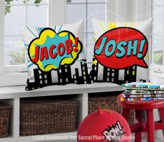 ███████████  THIS LISTING IS FOR A SUPERHERO THROW PILLOW COVER  14x14, 16x16, 18x18 or 20x20 SIZES PERSONALIZED WITH YOUR CHILDS NAME EACH PILLOW COVER/NAME IS SOLD SEPARATELY  CHOOSE FROM:  * YELLOW * RED  Inspired by your favorite Superhero comic phrases these bold and colorful designs will put some SHAZAM into your childs bedroom, play room, or nursery.  To keep product and shipping costs down and save you money, this listing is for the pillow cover only, without insert. You can purc...