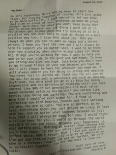 Letter To My Boyfriend Before We Went College