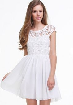 da0cf3e744 SHEIN offers White Short Sleeve Hollow Floral Crochet Pleated Dress   more  to fit your fashionable needs.