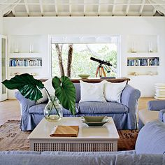 Keep Air Flowing Through a Beach House - 40 Beautiful Beachy Living Rooms - Coastal Living