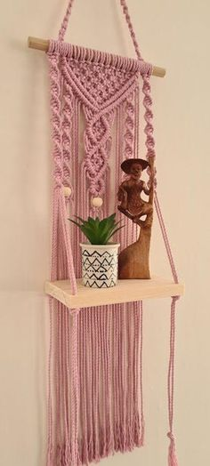 Wall Hanging Shelves, Large Macrame Wall Hanging, Macrame Plant Hangers, Wooden Shelves, Shelf Wall, Macramé Angel, Handmade Christmas Decorations, Macrame Design, Macrame Projects
