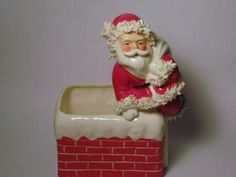 RARE Vintage Spaghetti Trim Napco Santa Going Down Chimney Christmas Porcelain/ Ceramic Planter Candy Container Figurine Numbered 1950s Christmas, Antique Christmas, Vintage Christmas Ornaments, Christmas Heaven, Christmas And New Year, Santa Figurines, Christmas Figurines, Christmas Classics, Christmas Planters