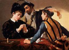 Caravaggio, I bari (The Cardsharps), 1594 c., Kimbell Art Museum, Forth Worth, olio su tela, 94.2 × 130.9 cm  #cards