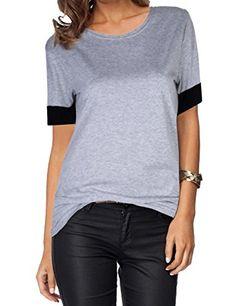 9a6112dd20c30 YesFashion Women s Casual Round Collar Short Sleeve T-Shirt Blouse Tops  (XL