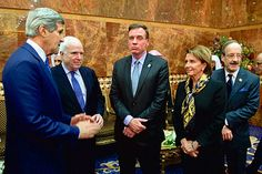 Pelosi before greeting the new King Salman of Saudi Arabia, Riyadh, January 2015. Saudi Arabia regards Iran as its main regional rival.