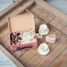 Pink Suitcase with Cakes and Cups