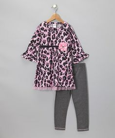 Take a look at this Pink Cheetah Tunic & Leggings - Toddler & Girls by Sweet Heart Rose on #zulily today!