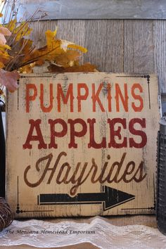 PUMPKINS apples HAYRIDES rustic barn wood sign Fall sign halloween rustic fall…