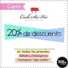 ¿Todavía no tenés tu cupón? ¡Aprovechalo y llevate lo que quieras de Cuchi Sai-Vai!  www.dondecomprarmejor.com