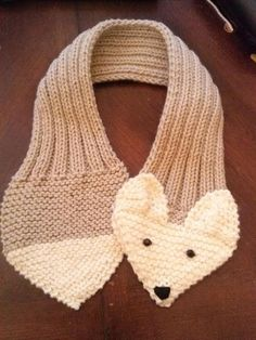 Adjustable  Fox Scarf Hand Knit Scarf / neck warmer  for kids or adults.   Beige by QuiltNCrochet