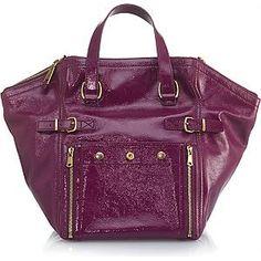 YVES SAINT LAURENT Downtown in Purple Patent Leather Handbag