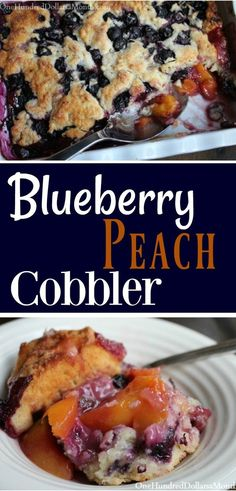 Blueberry Peach Cobbler - One Hundred Dollars a Month - Cobbler, Crisp, & Crumble Recipes Peach Blueberry Cobbler, Blueberry Cobbler Recipes, Fruit Cobbler, Blueberry Desserts, Blueberry Cake, Frozen Blueberry Recipes, Frozen Peach Cobbler Recipe, Peach Cobbler Crisp, Blueberry Ideas