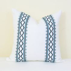 Blue white embroidered decorative pillow cover 18x18 20x20 22x22 Lumbar cover 12x20 13x20 14x20 Blue pillow cover Navy pillow Robert Allen Blue Pillow Covers, Decorative Pillow Covers, Pillow Forms, Pillow Inserts, Navy Pillows, Throw Pillows, Light Teal, Different Patterns, Dusty Blue