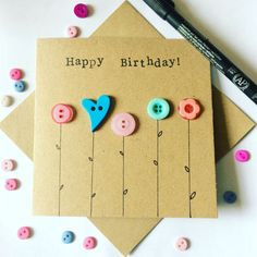 Happy Birthday Card embellished with button flowers