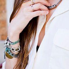 Friendship bracelets + chains.