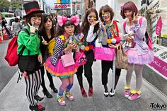 """This gang of six awesomely cute Japanese girls was handing out Halloween candy and shouting """"Happy Halloween!"""" near F21/H&M Harajuku on Halloween day 2010. Free candy, friendly & cute girls, and only-in-Harajuku fashion - sounds like a perfect Halloween to me. :-)"""