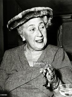 1957, English crime writer Agatha Christie at a party to celebrate the 1998th stage performance of 'The Mousetrap'