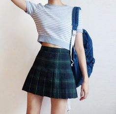17 Ideas For Fashion Summer Grunge Plaid Skirts Grunge Outfits, Grunge Fashion, Cute Fashion, Asian Fashion, Look Fashion, Girl Fashion, Womens Fashion, Fashion Tips, 80s Fashion