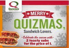 Quiznos: BOGO FREE Sub Coupon on http://hunt4freebies.com/coupons