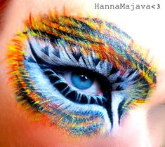 Eye Makeup : Tiger Eyes Makeup Tutorial – By Hanna Majava via Glam Express Crazy Eye Makeup, Eye Makeup Art, Cat Makeup, Fairy Makeup, Mermaid Makeup, Extreme Makeup, Animal Makeup, Crazy Eyes, Special Effects Makeup