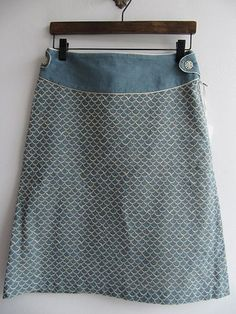so many cute skirts on this site - light blue a line skirt with fish scale pattern