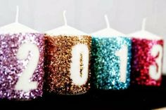 Diy Projects: Glitter New Years Candles Decoration