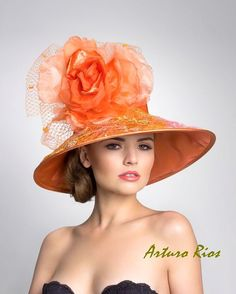 Hat Orange taffeta #millinery flower