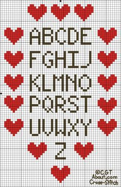 Free Heart Border Sampler Solid Color Cross Stitch Pattern - Printable Chart