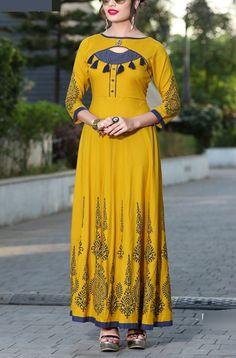 Buy Angellic Yellow Reyon Print with Fancy Kurti - Lilots Fashion Salwar Designs, Printed Kurti Designs, Kurta Designs Women, Kurti Designs Party Wear, Latest Kurti Designs, Sleeves Designs For Dresses, Dress Neck Designs, Neck Designs For Suits, Chudithar Neck Designs
