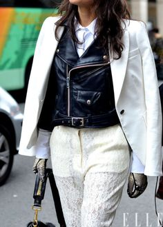 Black and white dressing: lace and leather edition.