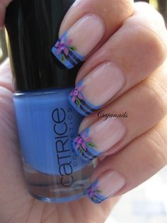 Striped blue french tip with flower - Nail Art Gallery by NAILS Magazine