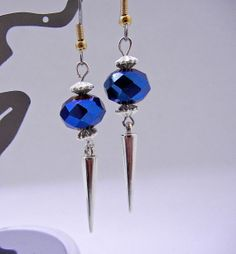 Blue Faceted Glass Spike Earrings   Dangle by BumbleberryJewelry, $15.00