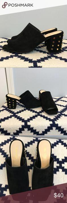 🌼 Nine West black suede studded heels size 7 1/2 Nine West black suede gold studded heels size 7 1/2. Excellent condition. Nine West Shoes Heels