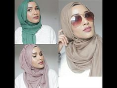 HIJAB TUTORIALS - 3 different styles. I definitely love the first style. Seems easy and comfy enough to wear daily.. Works well with a wide rectangular hijab.