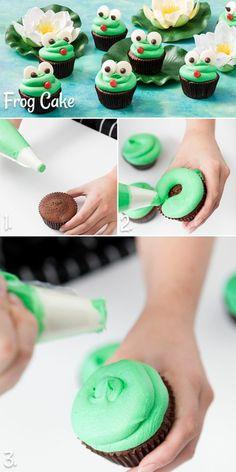 cupcakes dekorieren mit grüner sahne wie frösche