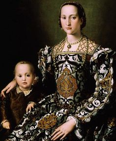 Bronzino - Eleanora of Toledo and her son, Giovanni de Medici. ,1150 The Portrait of Eleanor of Toledo and Her Son is a painting by the Italian artist Agnolo di Cosimo, known as Bronzino, finished ca. 1545. It is housed in the Uffizi Gallery of Florence, Italy and is considered one of the preeminent examples of Mannerist portraiture.