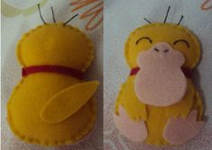 Psyduck feltro Pokemon Dolls, Pokemon Costumes, Pokemon Craft, Festa Pokemon Go, Pokemon Party, Pokemon Birthday, Kids Crafts, Geek Crafts, Sewing Toys