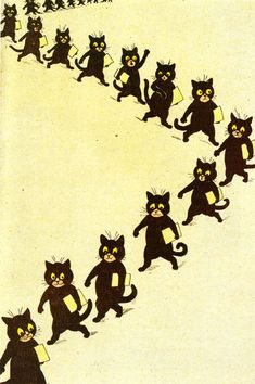 louis wain cats.  Louis Wain was a professional, popular illustrator that developed adult-onset schizophrenia. His art mirrored his mind- this is one of his illustrations.