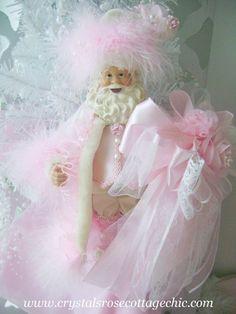 pink shabby santa