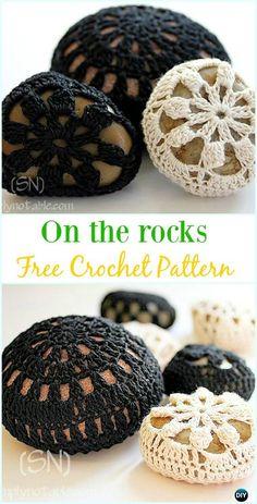 Crochet On the Rocks Free Pattern- Pebble Cozy Free Patterns Crochet Pebble Stone Cozy Free Patterns: Crochet Rock Cover, Stone Cozy, Crochet Covered Stone, Snowflake Stone, Lace Stone and Crochet Buttons, Thread Crochet, Crochet Doilies, Crochet Stone, Crochet Round, Crochet Chart, Diy Crochet, Crochet Ideas, Crochet Projects