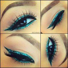 Emerald Green Eyes by @missmaes in Motives Khol Eyeliner(Green Envy).   #Green #Emerald #Beauty
