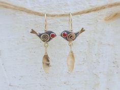 Birds Earrings - 14k Gold and Sterling Silver Earrings - Carnelian Birds Earrings