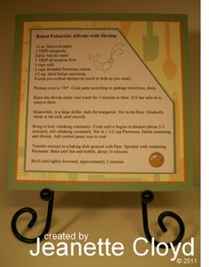 Shrimp Rettuccini Recipe Card by Forest Ranger - Cards and Paper Crafts at Splitcoaststampers