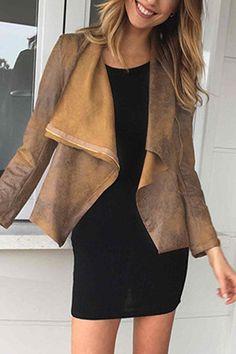 Brown Suede Fabric Zipper Biker Jacket - US$33.95 -YOINS